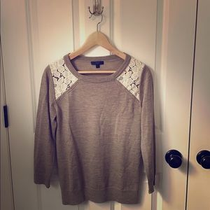 J. Crew Tippi sweater with lace shoulder, Small
